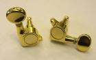 Enclosed Machine Heads 3-a-side Set (6pcs) for 10mm holes Gold  TK-7562-GD